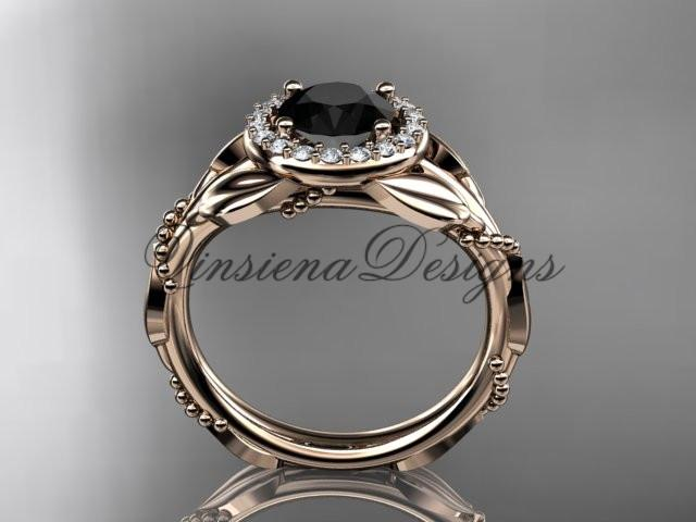 Unique 14k rose gold diamond engagement ring. Enhanced Black Diamond ADLR328