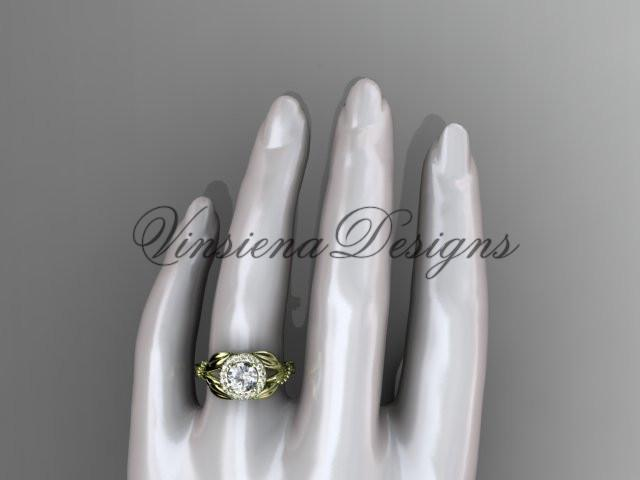 "Unique 14k yellow gold diamond engagement ring ""Forever One"" Moissanite ADLR328"
