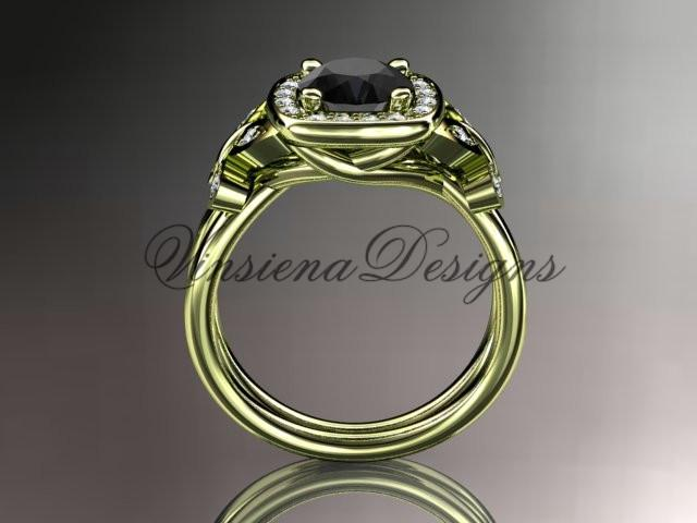 14k yellow gold diamond  engagement ring. Enhanced Black Diamond ADLR330