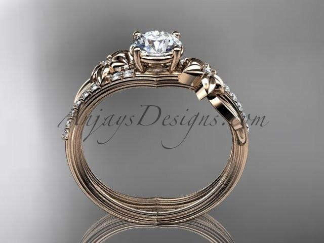 14kt rose gold diamond leaf and vine wedding ring, engagement ring ADLR331 - AnjaysDesigns