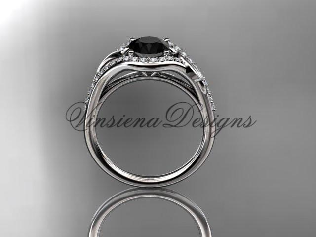 14kt white gold diamond wedding, engagement ring, Enhanced Black Diamond ADLR334