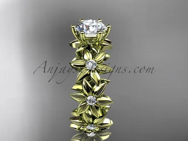 Unique 14k yellow gold diamond floral engagement ring ADLR339 - AnjaysDesigns