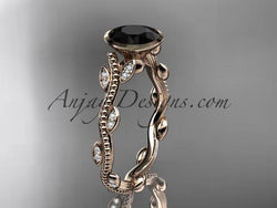 14k rose gold diamond leaf and vine wedding ring, engagement ring with Black Diamond center stone ADLR33 - AnjaysDesigns, Black Diamond Engagement Rings - Jewelry, Anjays Designs - AnjaysDesigns, AnjaysDesigns - AnjaysDesigns.co,
