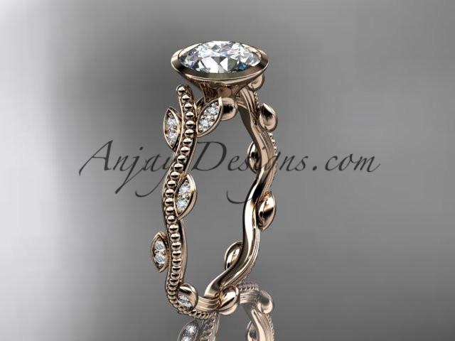 "14k rose gold diamond leaf and vine wedding ring, engagement ring with ""Forever One"" Moissanite center stone ADLR33 - AnjaysDesigns, Moissanite Engagement Rings - Jewelry, Anjays Designs - AnjaysDesigns, AnjaysDesigns - AnjaysDesigns.co,"