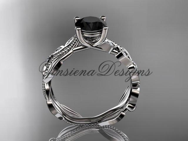 Platinum diamond leaf, vine engagement ring Enhanced Black Diamond ADLR342