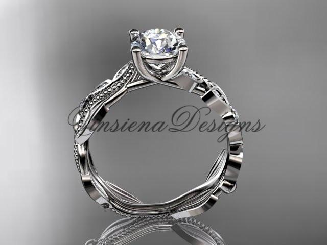 "14kt white gold diamond  engagement ring ""Forever One"" Moissanite ADLR342"