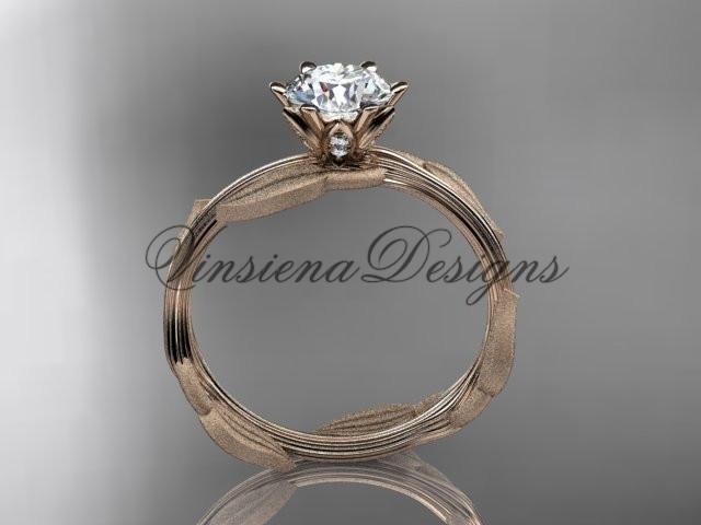 Unique 14kt rose gold leaf and vine engagement ring, wedding ring ADLR343