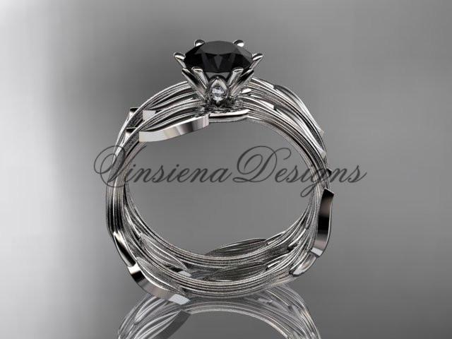 Platinum wedding ring, engagement set, Enhanced Black Diamond ADLR343S