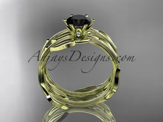 14k yellow gold leaf and vine wedding ring, engagement set with a Black Diamond center stone ADLR343S - AnjaysDesigns
