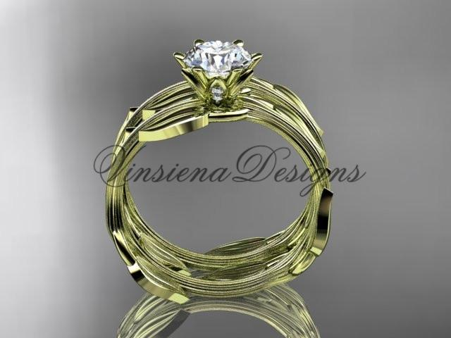 "14kt yellow gold wedding ring, engagement set, ""Forever One"" Moissanite ADLR343S"