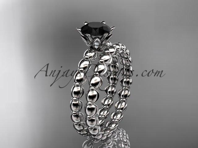 14k white gold diamond wedding ring, engagement set with a Black Diamond center stone ADLR34S - AnjaysDesigns