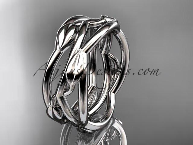 platinum leaf and vine wedding ring,wedding band ADLR350G - AnjaysDesigns