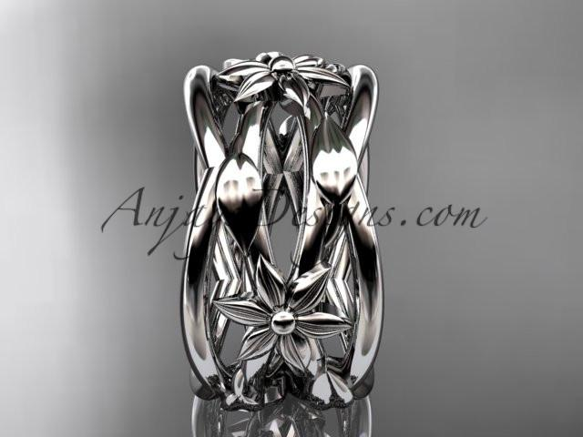 14kt white gold leaf and vine, flower wedding ring,wedding band ADLR352G - AnjaysDesigns