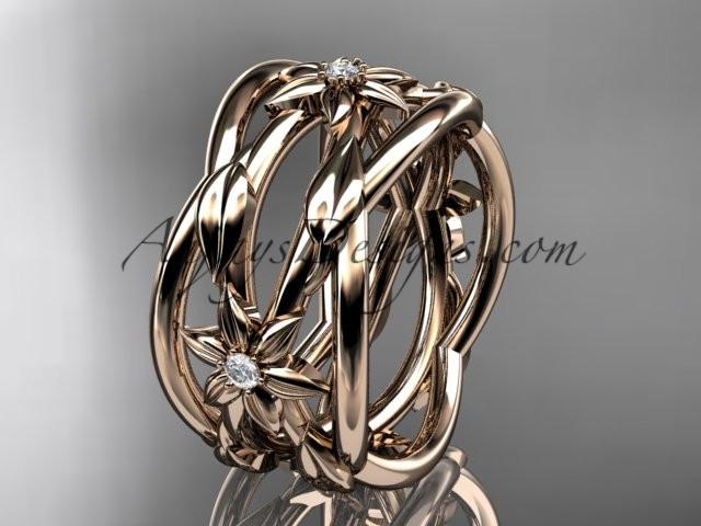 14kt rose gold leaf and vine, flower wedding ring,wedding band ADLR352B - AnjaysDesigns