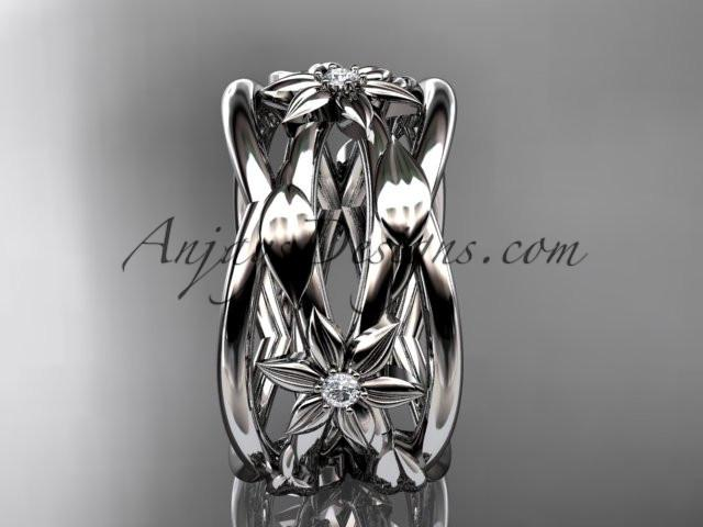 platinum leaf and vine, flower wedding ring,wedding band ADLR352B - AnjaysDesigns
