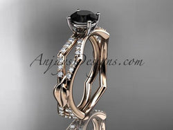 14k rose gold diamond leaf and vine wedding ring,engagement ring with a Black Diamond center stone ADLR353 - AnjaysDesigns