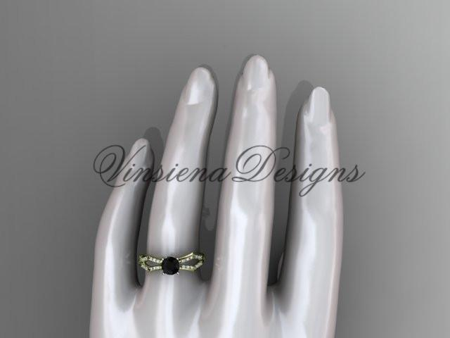 14kt yellow gold diamond engagement ring, Enhanced Black Diamond ADLR353