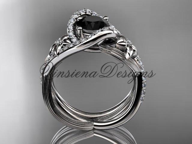 14k white gold diamond engagement ring set, Enhanced Black Diamond ADLR369S