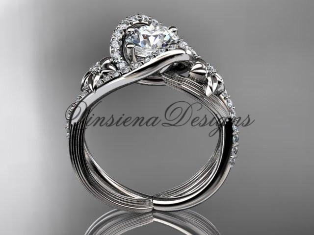 14k white gold diamond unique engagement ring, ADLR369