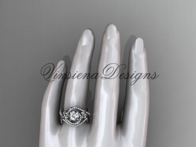 platinum leaf and flower diamond unique engagement set, wedding ring ADLR369SP