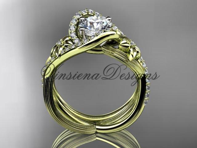 14k yellow gold diamond unique engagement set, wedding ring ADLR369S