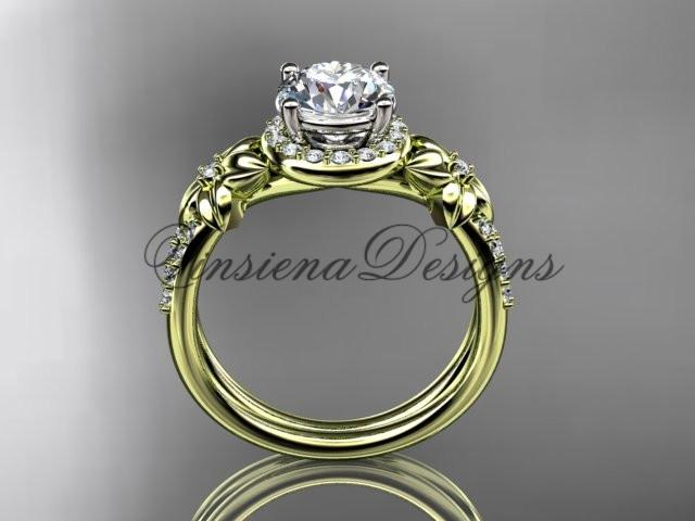"14k yellow gold diamond unique engagement ring ""Forever One"" Moissanite ADLR373"