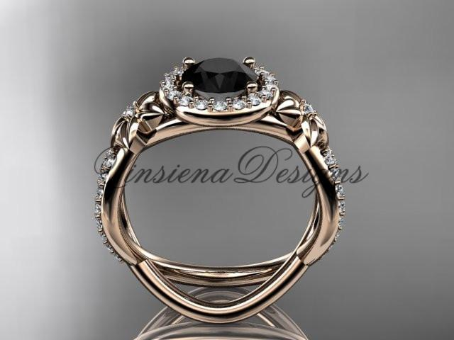 14k rose gold diamond unique engagement ring, Enhanced Black Diamond ADLR374