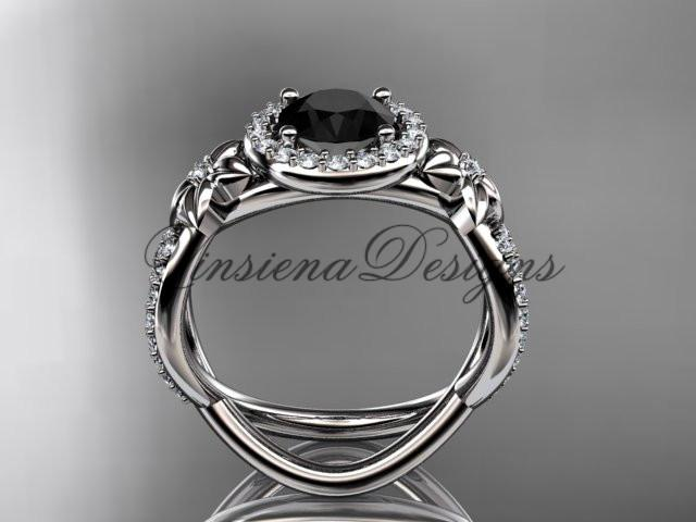 platinum diamond unique engagement ring, Enhanced Black Diamond ADLR374P