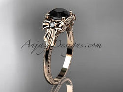 14k rose gold leaf and flower diamond unique engagement ring with a Black Diamonde center stone ADLR376 - AnjaysDesigns