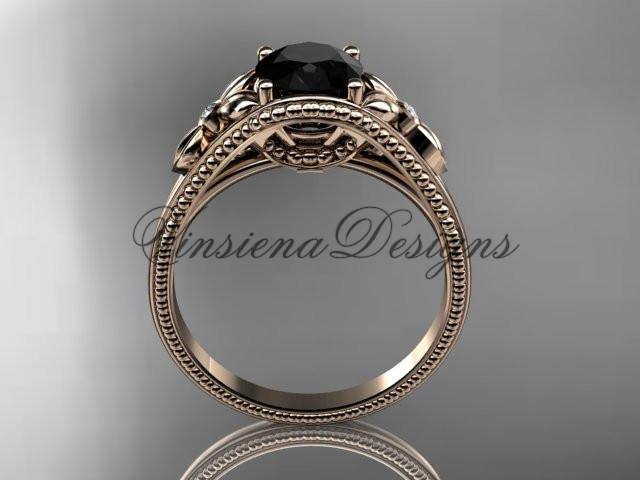 14k rose gold diamond unique engagement ring Enhanced Black Diamond ADLR377