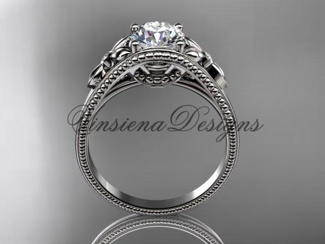 "14k white gold diamond unique engagement ring ""Forever One"" Moissanite ADLR377"