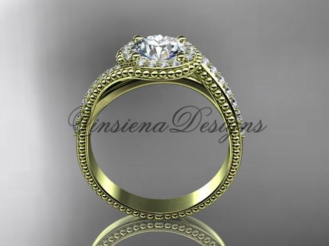 "14k yellow gold halo diamond engagement ring, ""Forever One"" Moissanite ADLR379"