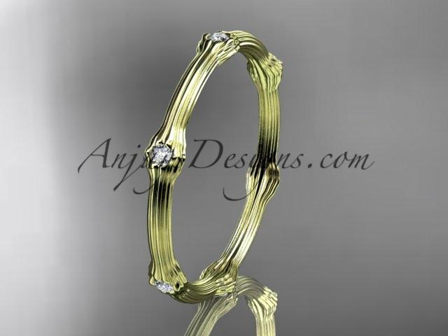 14k yellow gold diamond vine wedding ring, engagement ring ADLR37 - AnjaysDesigns