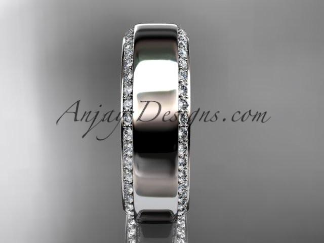 platinum classic wedding band, diamond engagement ring ADLR380B - AnjaysDesigns