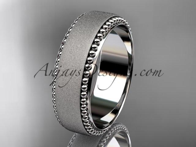 platinum matte finish classic wedding band, engagement ring ADLR380G - AnjaysDesigns