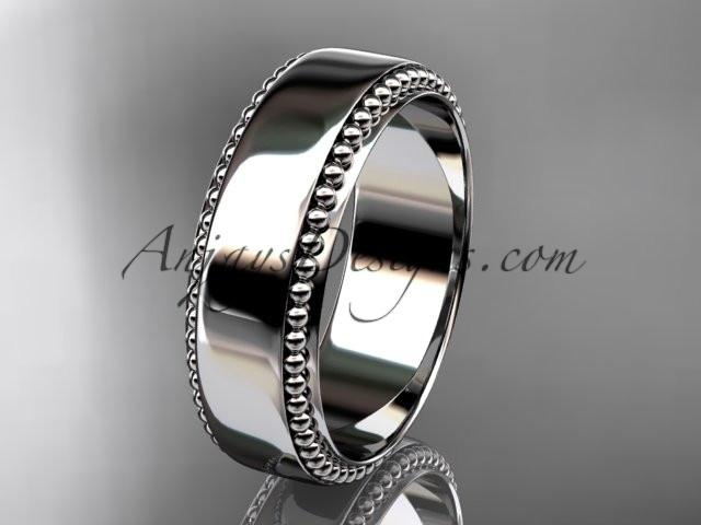 platinum leaf and vine wedding band, engagement ring ADLR380G - AnjaysDesigns