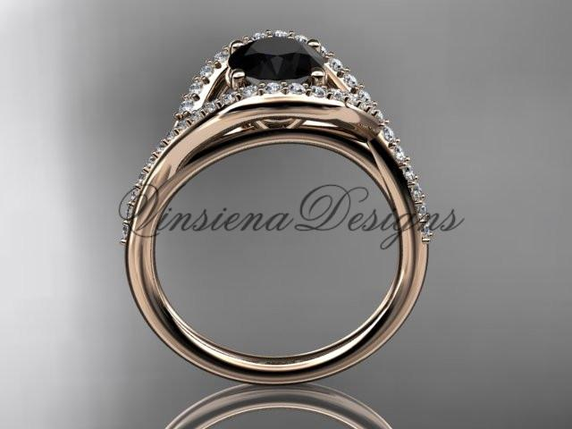 14kt rose gold diamond engagement ring, Enhanced Black Diamond ADLR383