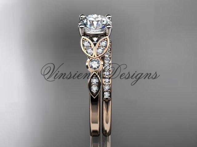 14k rose gold diamond engagement ring set, wedding ring, Moissanite ADLR387S
