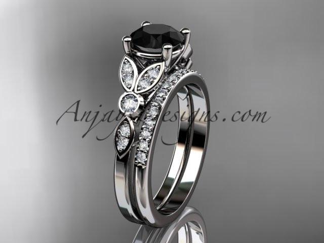 14k white gold unique engagement set, wedding ring with a Black Diamond center stone ADLR387S - AnjaysDesigns