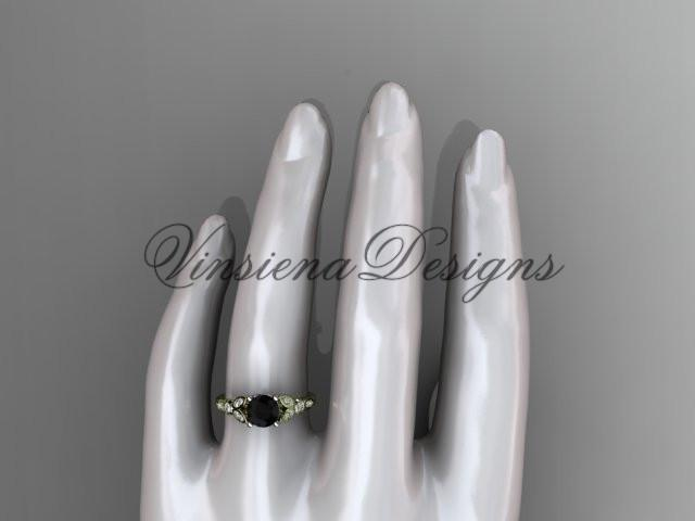 14kt yellow gold engagement ring, wedding ring, Enhanced Black Diamond ADLR387