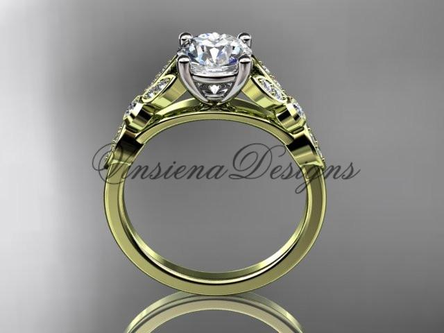 14k yellow gold unique engagement ring, wedding ring with a Moissanite ADLR387