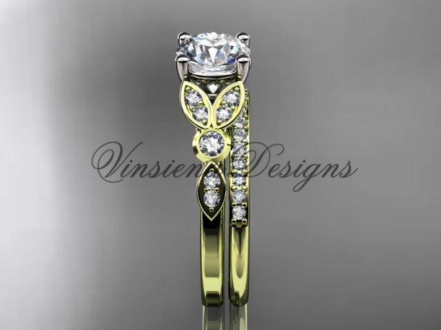 14k yellow gold diamond unique engagement ring set, wedding ring ADLR387S