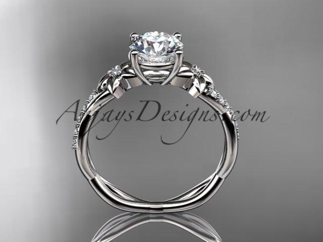 14kt white gold flower diamond wedding ring, engagement ring ADLR388 - AnjaysDesigns