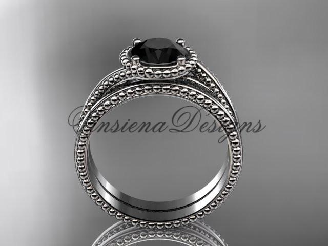 14kt white gold wedding ring, engagement set, Enhanced Black Diamond ADLR389S