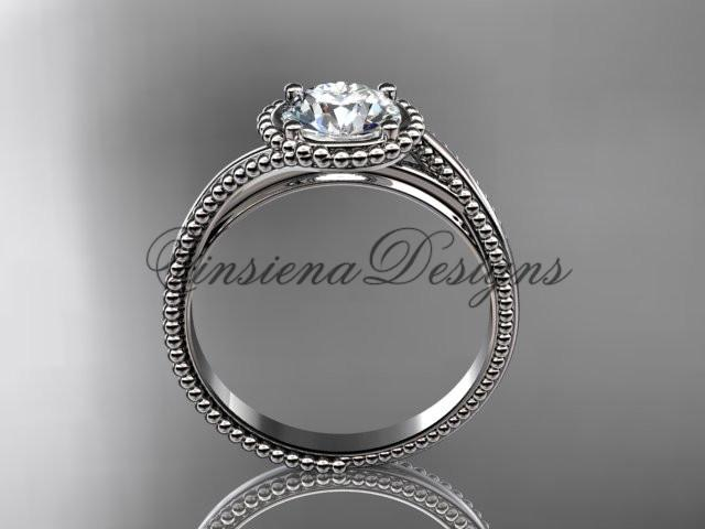 "14kt white gold wedding ring, engagement ring, ""Forever One"" Moissanite ADLR389"