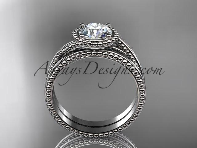 14kt white gold wedding ring, engagement set ADLR389S - AnjaysDesigns