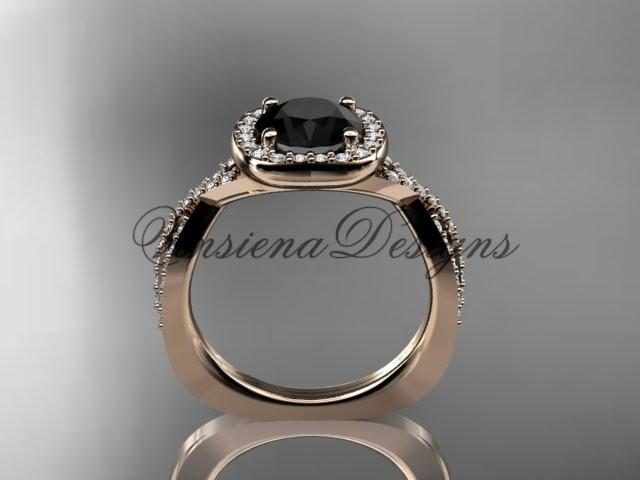 14kt rose gold wedding ring, engagement ring, Enhanced Black Diamond ADER393