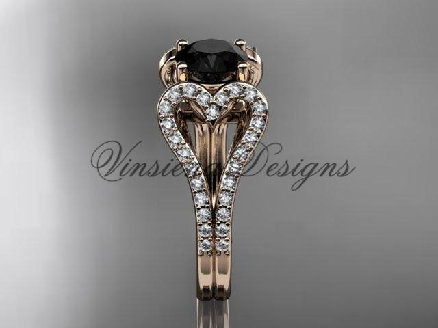14k rose gold heart engagement ring, Enhanced Black Diamond ADER395