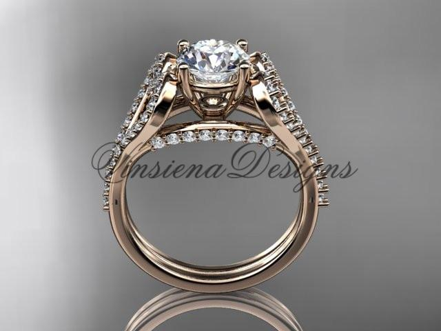 "14kt rose gold heart engagement ring, ""Forever One"" Moissanite ADER395"