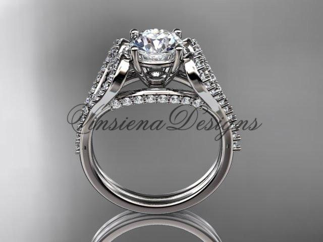 "14kt white gold heart engagement ring, ""Forever One"" Moissanite ADER395"